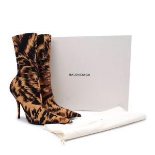 Balenciaga Brown Knife Leopard-print Spandex Sock Boot