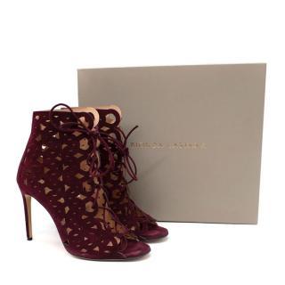 Bionda Castana Suede Burgundy Ankle Boot Heels