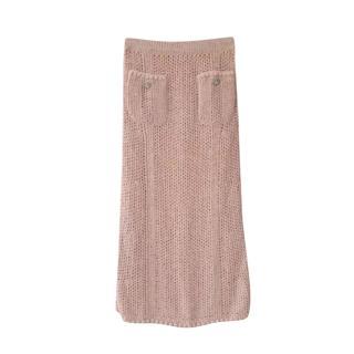 Chanel Paris/Cuba Beige Knit Maxi Skirt