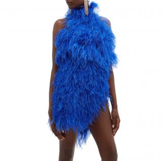 The Attico Ostrich feather-embellished mini dress
