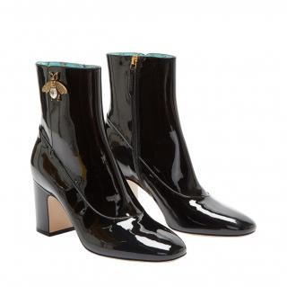 Gucci Black Patent Bee Motif Ankle Boots