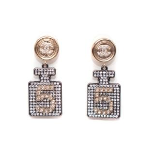 Chanel Crystal Embellished Chanel No.5 Perfume Earrings - Sold Out