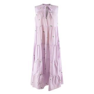 Paul & Joe Lilac Flower Embroidered Tiered Sleeveless Dress