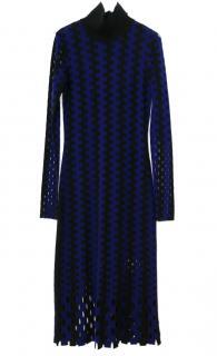 DVF Black & Blue Merino Wool Knit Dress