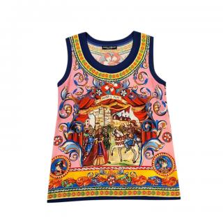 Dolce & Gabbana Multicoloured Silk Printed Vest Top