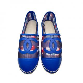 Chanel Blue Leather & Mesh Espadrilles
