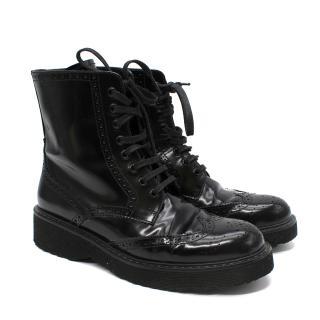 Prada Black Patent Leather Brogue Boots