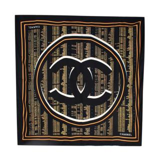 Chanel Silk Black Flight Schedule Print Shawl 130cm