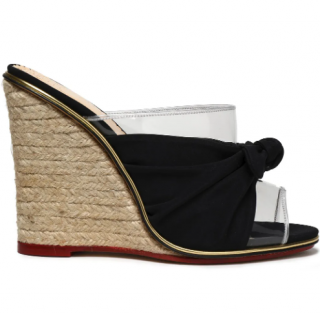 Charlotte Olympia Knotted Suede PVC Espadrille Wedge Mules