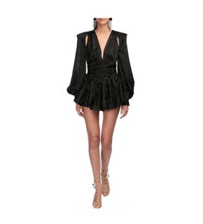 The Attico Jacquard Black Body Mini Dress