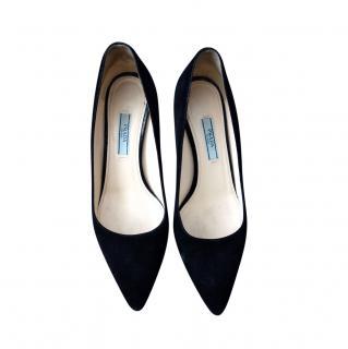 Prada Black Suede Kitten Heel Pumps