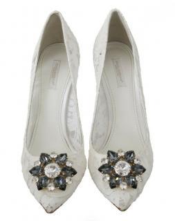 Dolce & Gabbana white lace embellished pumps