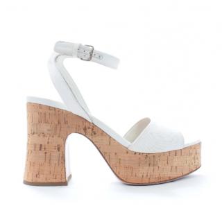 Miu Miu White Cork Platform Sandals