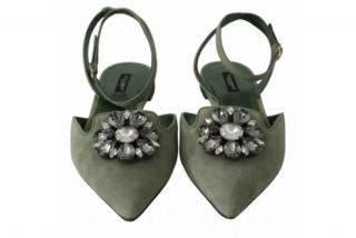 Dolce & Gabbana Sage Green Belucci Slingbacks