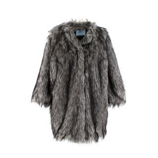 Prada Ash Grey Faux Fur Coat