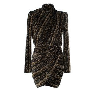 Balenciaga Black & Gold Velvet Lurex Draped Dress