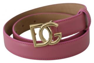 Dolce & Gabbana Pink Leather DG Belt - Size 70