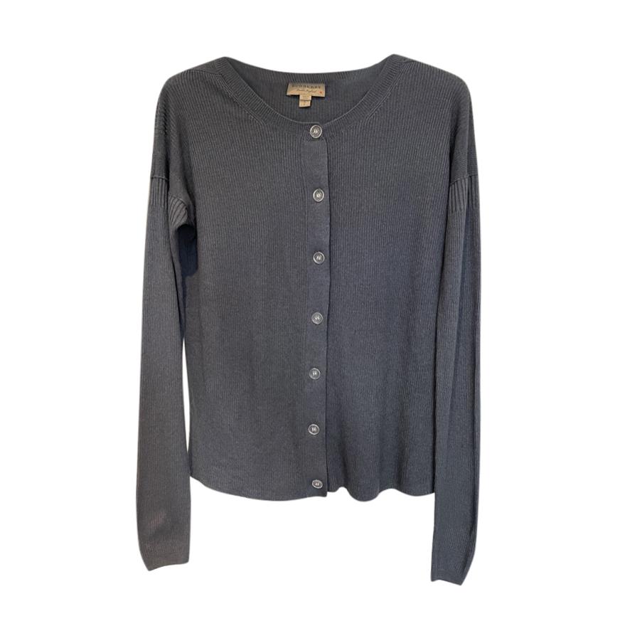 Burberry Fine Knit Blue-Gray Cardigan