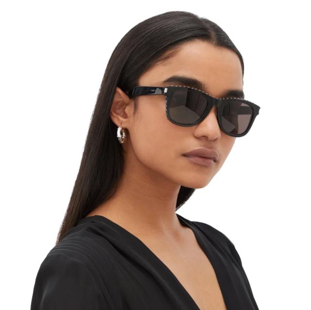 Saint Laurent Studded square acetate sunglasses