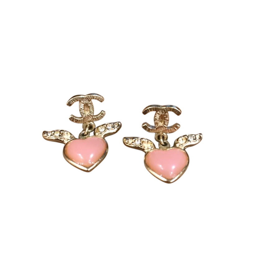 Chanel Gold Tone Pink Flying Heart Earrings