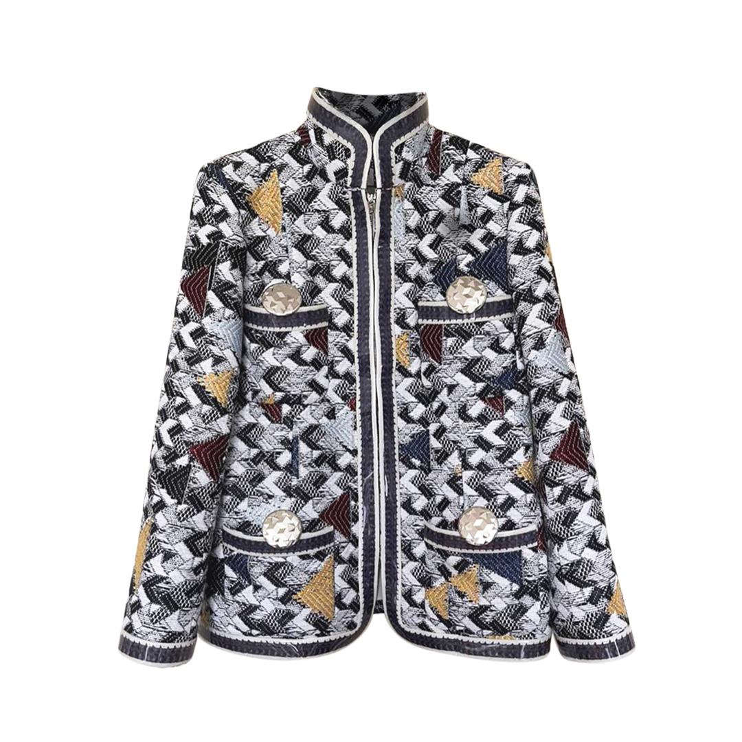 Chanel 'Airlines' Anna Wintour Metallic Tweed High Neck Jacket