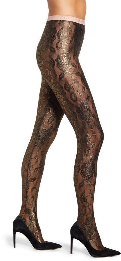 Gucci Embroidered Black & Gold Jacquard Tights