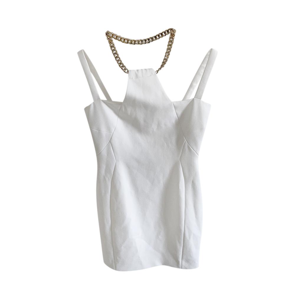 Versace Collection Chain Halter White MIni Dress