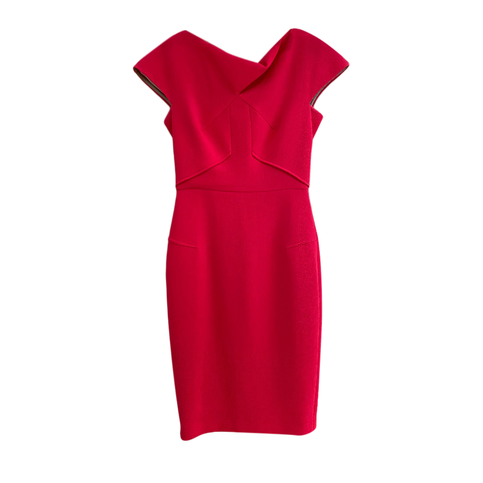Roland Mouret Pink Fitted Cap-Sleeve Dress