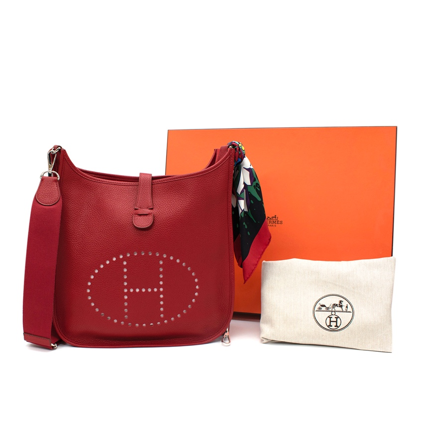 Hermes Red Clemence Leather Evelyne III PHW with Twilly