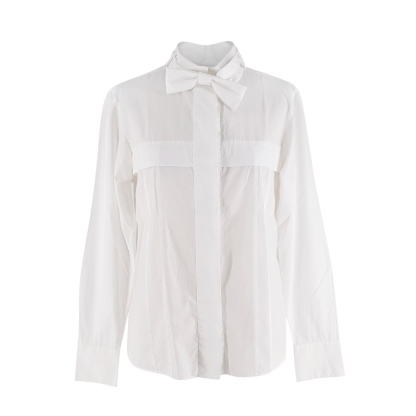 Chanel White Cotton Bow Tie Shirt