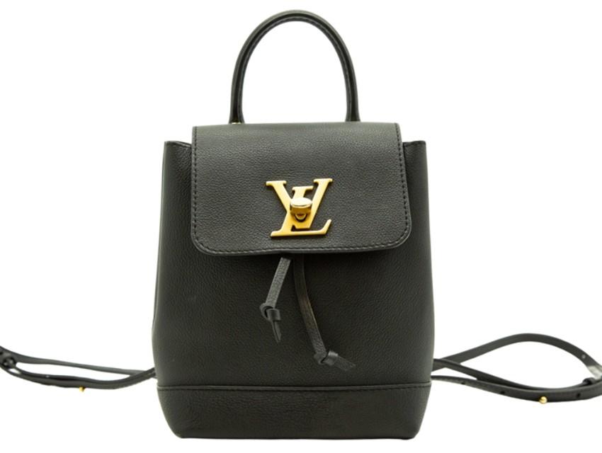 Louis Vuitton Mini Lockme Backpack in black calfskin leather
