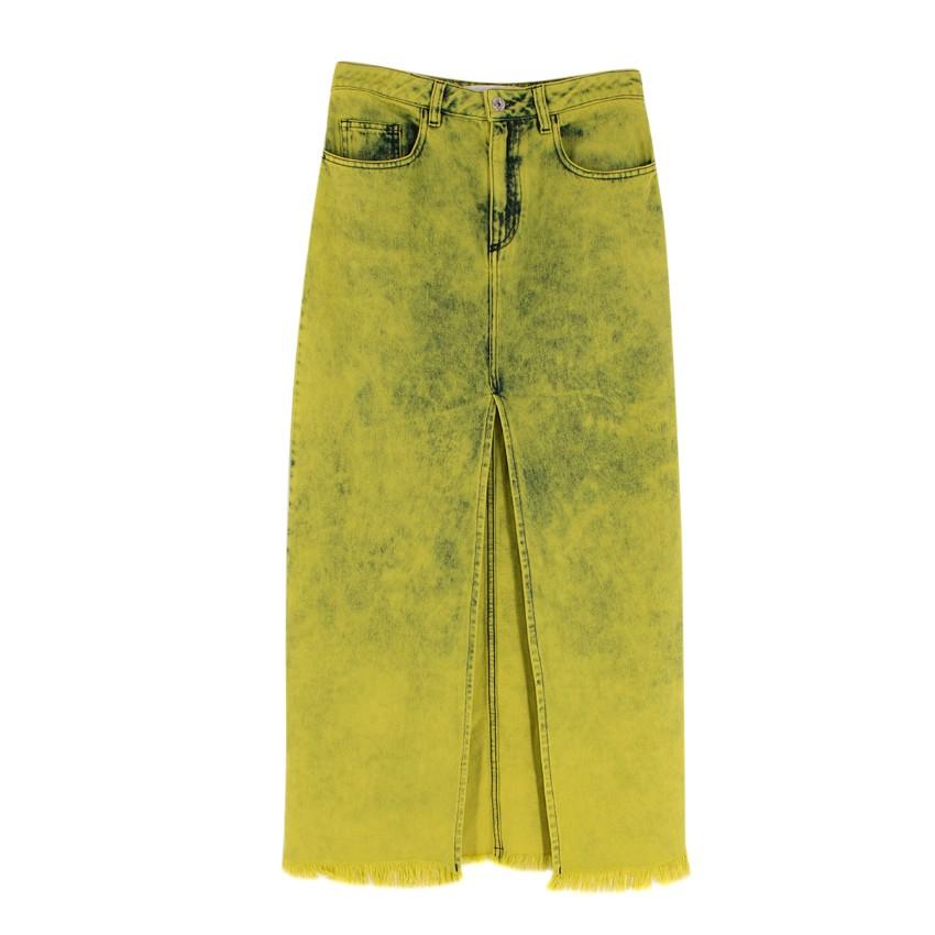 Marques Almeida Frayed Acid-Wash Denim Maxi Skirt