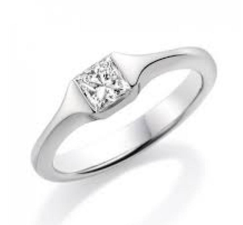 Paul Spurgeon princess cut solitaire diamond ring