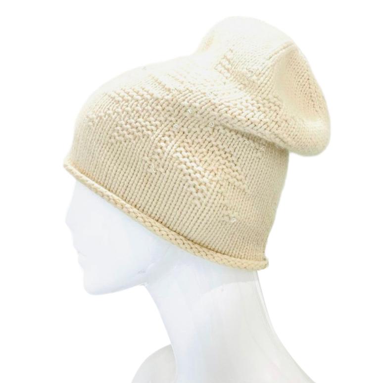 Loro Piana ivory beaded cashmere beanie