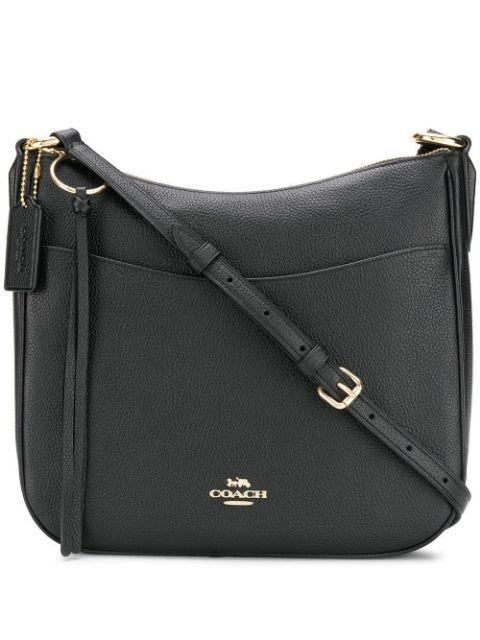 Coach black calf leather pebbled saddle bag