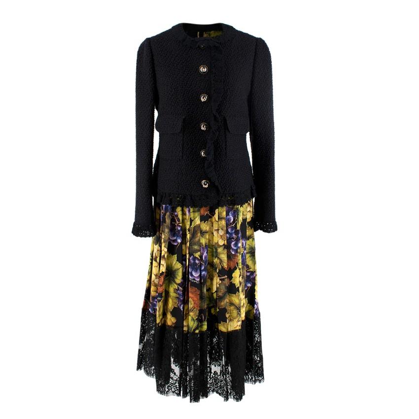 Dolce & Gabbana Black Lace-paneled Printed Silk-blend Midi-skirt