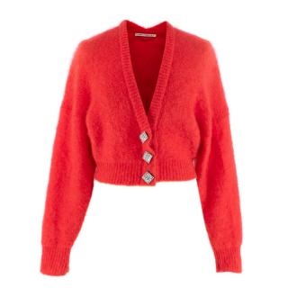 Alessandra Rich Crystal Embellished Mohair Blend Cardigan