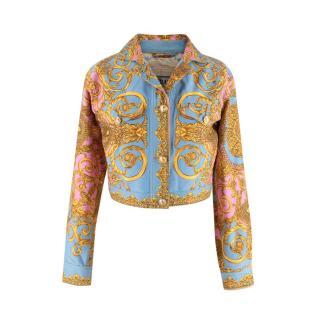 Gianni Versace Vintage Blue Pink & Gold Baroque Denim Jacket