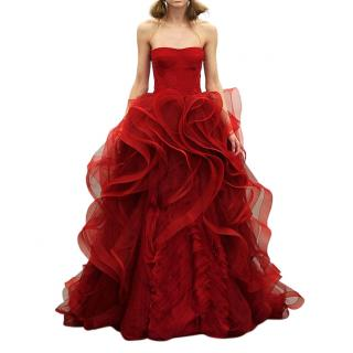 Vera Wang Bridal Red Lace Detailed Ruffled Strapless Gown