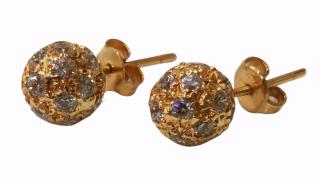 Bespoke 18ct Yellow Gold Crystal Embellished Boulder Earrings