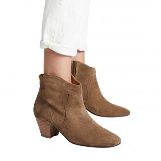 Isabel Marant Brown Dicker Suede Ankle Boots