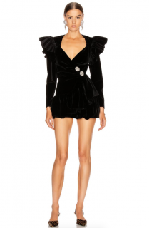 The Attico Ruffled Black Velvet Wrap Mini Dress