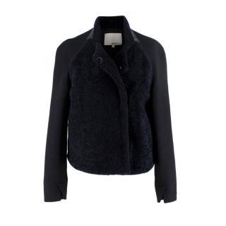 3.1 Phillip Lim Black & Midnight Blue Shearling Wool Jacket