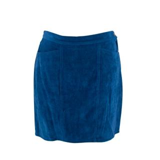 Versace Jeans Couture Velvet Blue Mini Skirt