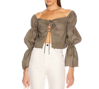 Cult Gaia Claire Draped Linen Olive Green Top