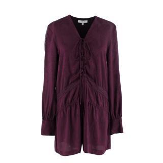 IRO Purple Silk Lace-up Galt Playsuit