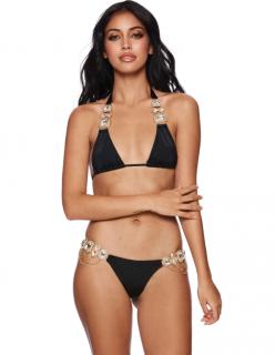 Beach Bunny Jazmin Black Rhinestone Embellished Hardware Bikini Set