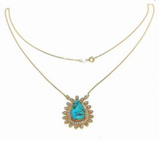 Noor Fares turquoise and diamond pendant and chain