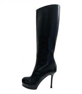 Saint Laurent  black leather Tribute knee boots