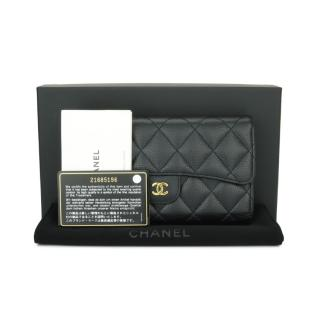 CHANEL Black Caviar Classic Continental Long Flap Wallet